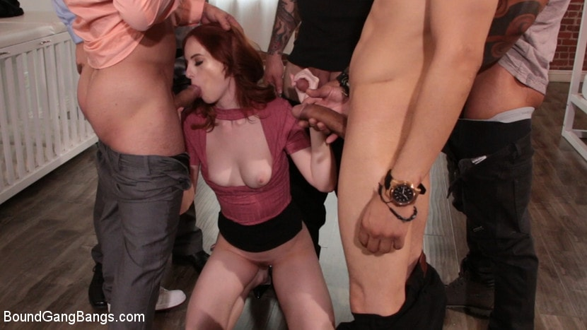 Kink 'Alex Harper Bound and Gangbanged by 5 Horny Homebuyers' starring Alex Harper (photo 1)