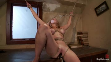 Audrey Rose - Hot blond has clothespins flogged off her breasts, fucked with a stick, vibrated and made to cum!
