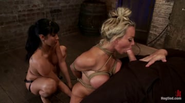 Holly Halston - Hot MILF, is throat fucked, strap on fucked and made to cum over and over! OH THE HUGE-MAMMARIES!