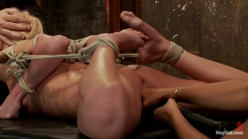 Isis Love - Bound on screen in an amazingly tough hogtie. Finger fucked, made to cum, skull-fucked and tormented!