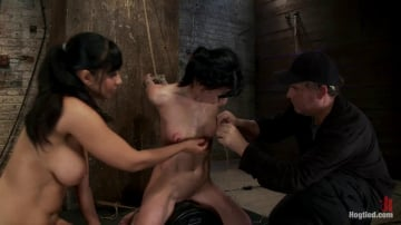 Isis Love - Elise is held down by her own HUGE nipples, held down on a Sybian! Any movement is nipple PAIN!