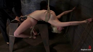 Isis Love - Extremely bent backwards, her neck tied so she can't move, her face brutally fucked while cumming!