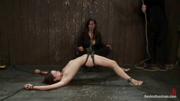 Jade Indica - One girl is stretched to the limit of her body The other takes the cane and takes it hard!