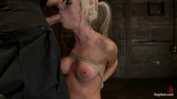 Kaylee Hilton - Hot blond with big tits, pony tails, and braces. Face fucked, hogtied and made to cum like a whore.