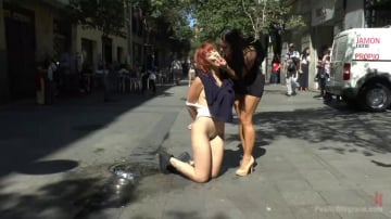 Lilyan Red - Redheaded slut beautifully disgraced on streets of Madrid