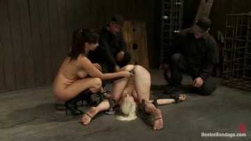 Lorelei Lee - Hot Blond, is caned, ass fucked and made to cum over and over 4 DOM's brutally work the whore over