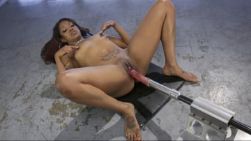Lotus Lain - Ebony Squirt Slut Soaks Fucking Machines with Her Cum Love