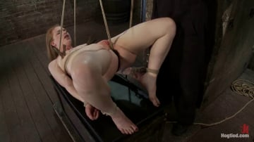 Madison Young - CATEGORY 5 SUSPENSIONTwo ropes, one though her shaved pussy and a cock in her mouth, nice!