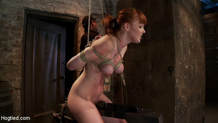 Kink 'Sexy red head with HUGE lactating nipples severely bound in a reverse prayer Made to cum!' starring Marie McCray (photo 6)