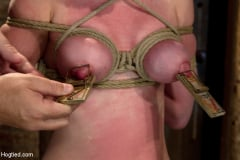 Marie McCray - Sexy red head with HUGE lactating nipples severely bound in a reverse prayer Made to cum! (Thumb 01)