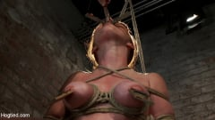 Marie McCray - Sexy red head with HUGE lactating nipples severely bound in a reverse prayer Made to cum! (Thumb 09)
