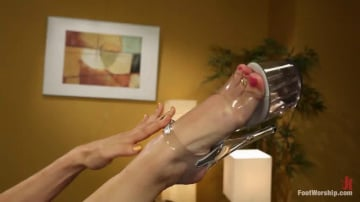 Phoenix Marie - Cum Covered Toes In Clear Heels: A members request!