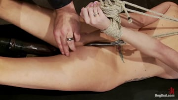 Rene Phoenix - Hot flexible blond suffers a Category 5 suspension. Anal hook, heavy nipple weights, made to cum.