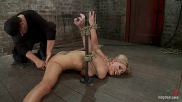 Samantha Sin - Flexible Blond MILF is tied in the splits. We cane, flog and make this mom cum like a whore.