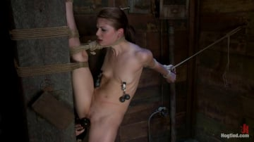 Sensi Pearl - Standing splits, full strappado Intense foot caning, brutal orgasms ripped from her helpless body