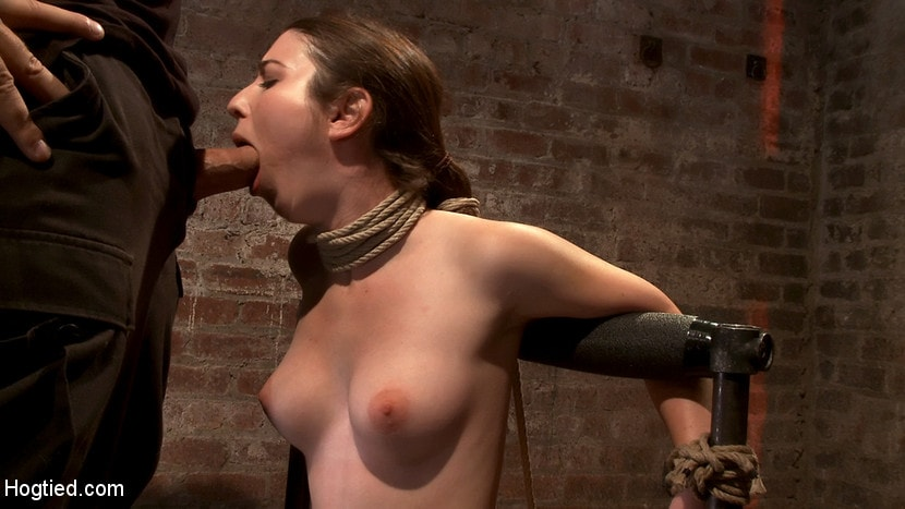 Kink 'Local girl next door bound up tight and helpless, flogged, nipple clamped, made to suck cock, and cum!' starring Serena Blair (photo 3)