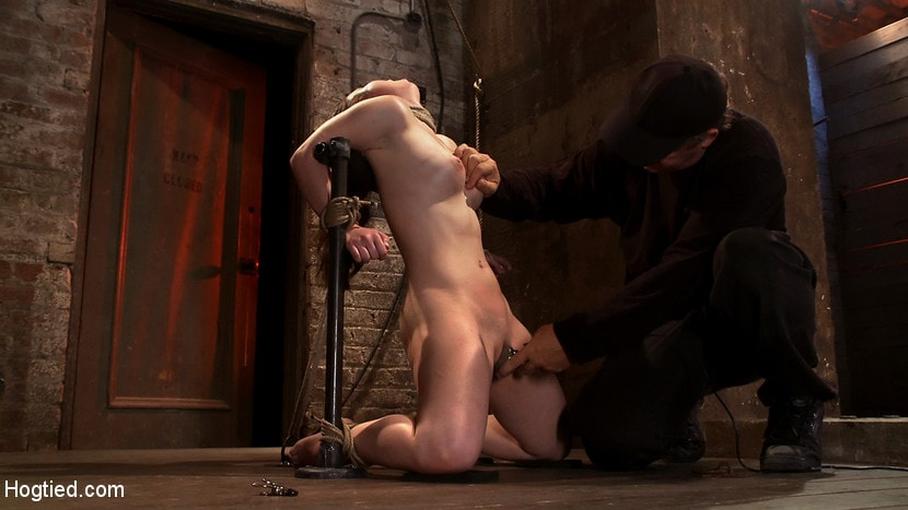 Kink 'Local girl next door bound up tight and helpless, flogged, nipple clamped, made to suck cock, and cum!' starring Serena Blair (photo 5)
