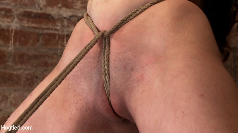 Kink 'Local girl next door bound up tight and helpless, flogged, nipple clamped, made to suck cock, and cum!' starring Serena Blair (photo 7)
