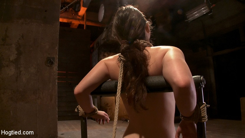 Kink 'Local girl next door bound up tight and helpless, flogged, nipple clamped, made to suck cock, and cum!' starring Serena Blair (photo 9)