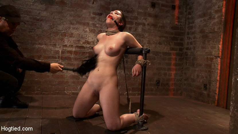 Kink 'Local girl next door bound up tight and helpless, flogged, nipple clamped, made to suck cock, and cum!' starring Serena Blair (photo 10)