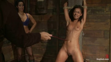 Skin Diamond - Skin is bound to a beam and a back breaker arches her to the limit Flogged and made to come!