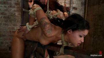 Skin Diamond - Skin's a sweaty mess, we rip massive orgasms from her quivering body. Brutal bondage, perfect ass