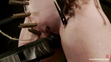 Sybil Hawthorne - Curvy broad suffers for orgasms then strung up by hair suspension.
