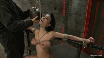 Bailey Brooks - Sexy thin girl with huge boobs has massive orgasms while neck rope slowly chokes her almost out.