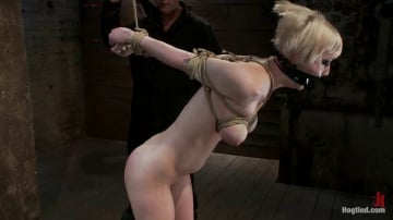 Cherry Torn - Hot Blond with PERFECT BODY, natural tits, severely bound, gagged and abused All on screen tying
