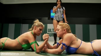 Darling in '2 big titted blonds battle in non-scripted wrestling. Submission holds, face sitting, finger fucking'