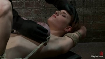 Iona Grace - 18 years old with huge natural tits is bound, made to cum Big tits brutally tied and punished.