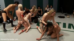 Iona Grace - 6 girl massive fuck orgy in front of the live audience. Losers getting fucked in to the mat! (Thumb 05)