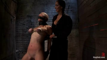 Isis Love - Audrey had her breast bound and huge mouth properly gagged. Nipples clamped and made to cum, and cum!