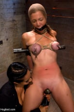 Isis Love - Audrey had her breast bound and huge mouth properly gagged. Nipples clamped and made to cum, and cum! (Thumb 03)