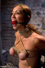 Isis Love - Audrey had her breast bound and huge mouth properly gagged. Nipples clamped and made to cum, and cum! (Thumb 10)