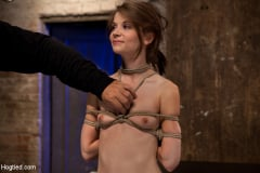 Isis Love - Extreme reverse Prayer Category 5 Hogtied Tying done on screen. Former Disney star made to cum. (Thumb 01)