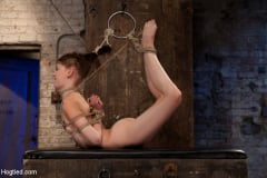 Isis Love - Extreme reverse Prayer Category 5 Hogtied Tying done on screen. Former Disney star made to cum. (Thumb 03)
