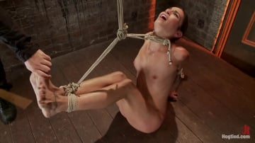 Isis Love - Sexy Amber has her elbows bound together, ankles to neck, and endures foot caning, brutal orgasms.