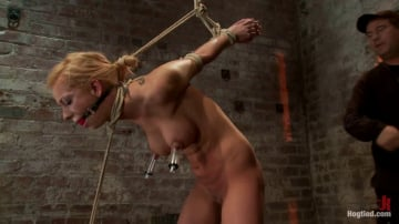 Isis Love - Stappado'd, elbows together, legs spread, nipples clamped and weighted, flogged, made to cum and suffer!