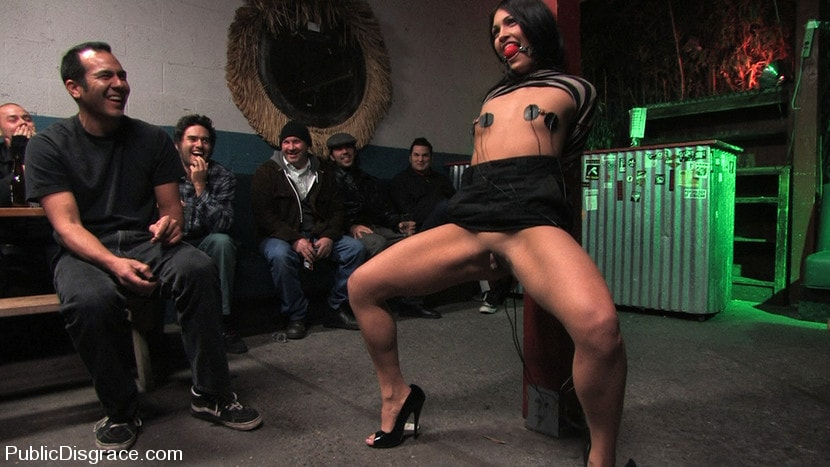 Kink 'Beautiful brunnette, Jade Indica, is bound and fucked in a crowded bar' starring Jade Indica (Photo 12)
