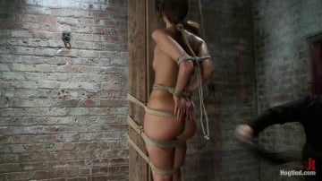 Katie Jordin - Predicament Category 5 bondage. Pulled back by hair tie, pulled forward by nipples!