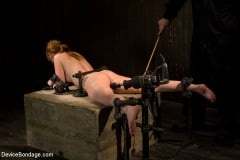 Marie McCray - Red Hair Fair Skin - finger fucked, machine fucked, extreme nipple play, hot wax, hard caning. (Thumb 06)
