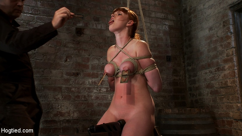 Kink 'Sexy red head with HUGE lactating nipples severely bound in a reverse prayer Made to cum!' starring Marie McCray (photo 4)