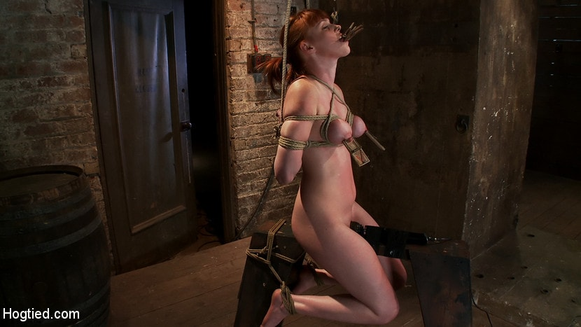 Kink 'Sexy red head with HUGE lactating nipples severely bound in a reverse prayer Made to cum!' starring Marie McCray (photo 5)