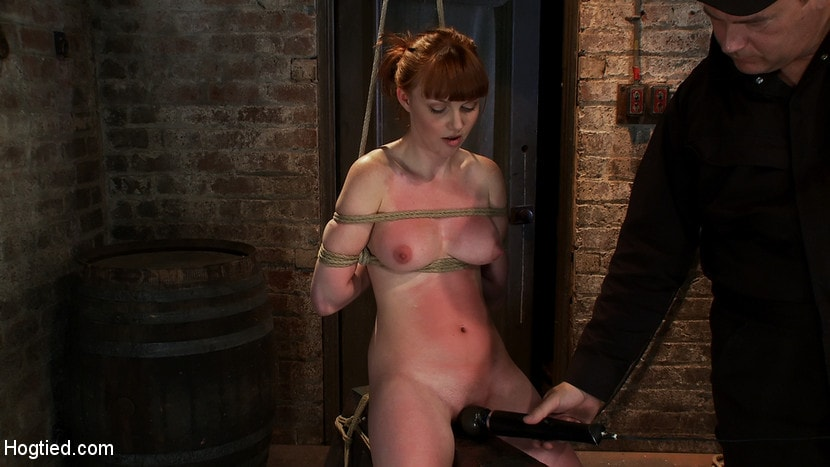 Kink 'Sexy red head with HUGE lactating nipples severely bound in a reverse prayer Made to cum!' starring Marie McCray (photo 14)