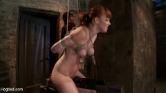 Marie McCray - Sexy red head with HUGE lactating nipples severely bound in a reverse prayer Made to cum! (Thumb 06)