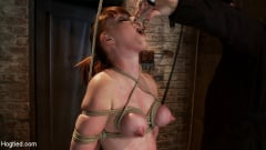 Marie McCray - Sexy red head with HUGE lactating nipples severely bound in a reverse prayer Made to cum! (Thumb 17)