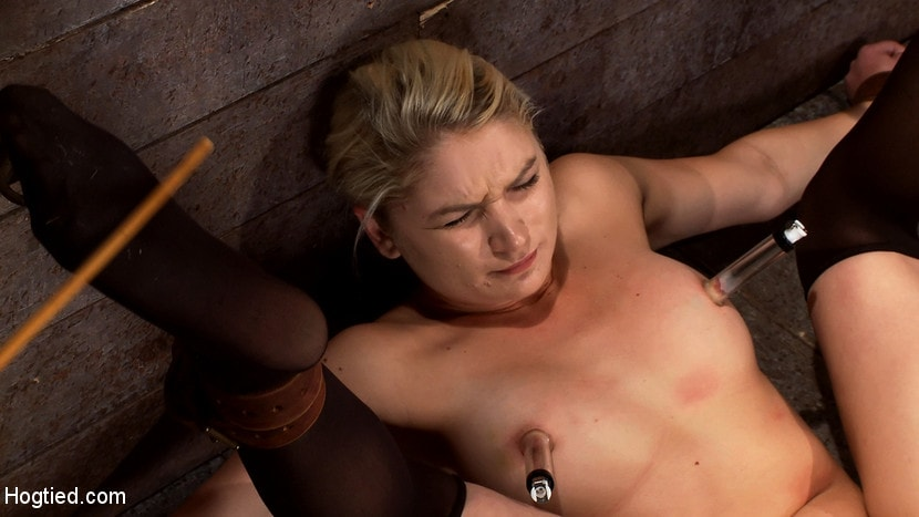 Kink 'Shy sexy blond girl is trapped, bound, humiliated Long legs spread wide, made to cum like a whore' starring Natasha Lyn (Photo 10)