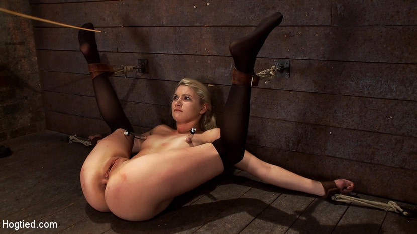 Kink 'Shy sexy blond girl is trapped, bound, humiliated Long legs spread wide, made to cum like a whore' starring Natasha Lyn (Photo 11)