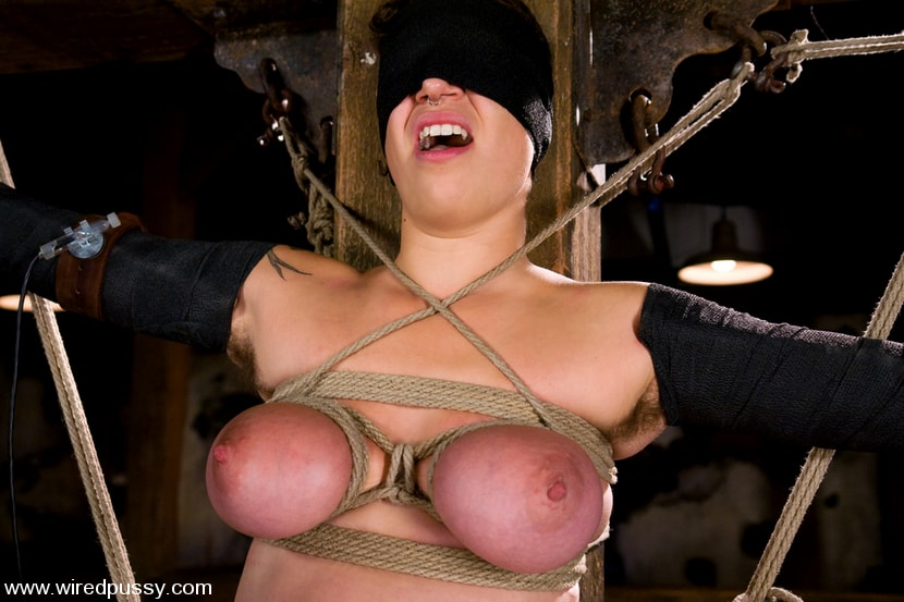 Kink 'Amateur gets her big tits tied and shocked for the FIRST TIME ever!' starring Sandra Romain (Photo 15)